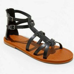 UNIVERSAL THREAD Alva Black Gladiator Zip Sandals